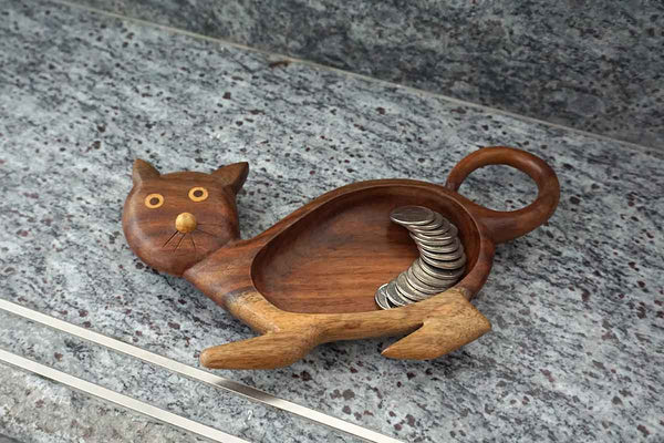 Fair Trade wooden cat coin and keys dish