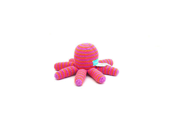 Handmade Crochet Fair Trade Pink Octopus Rattle
