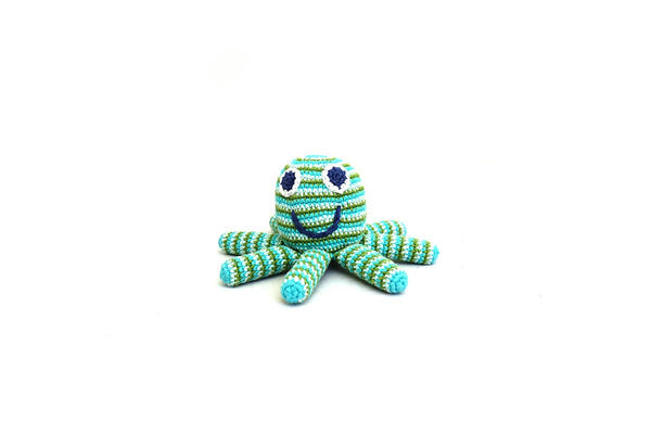 Handmade Crochet Fair Trade Blue Green Octopus Rattle