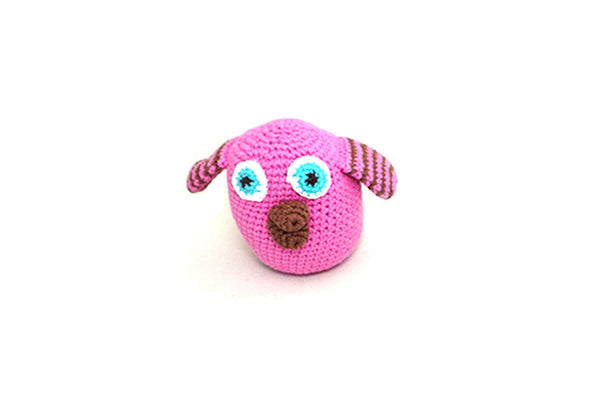 Fair trade pink owl baby rattle