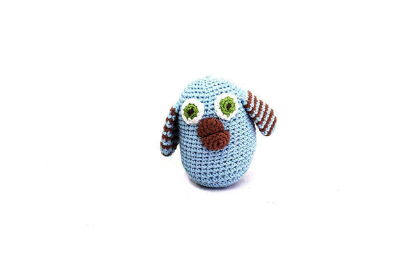 Fair trade crochet blue owl baby rattle