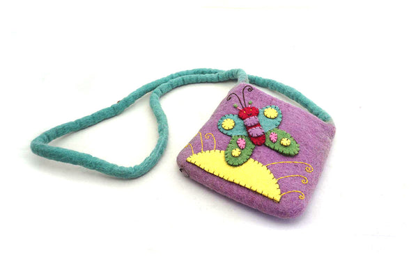 Felt Fair Trade Appliqué Butterfly Handbag