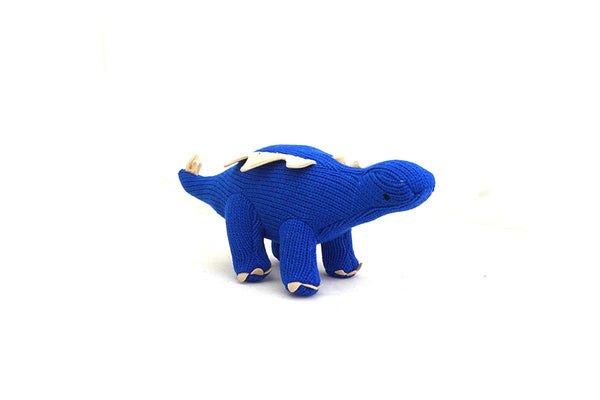 Fair trade knitted blue dinosaur