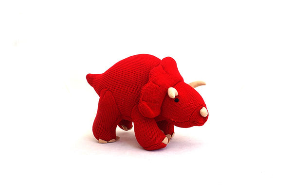 Knitted red dinosaur