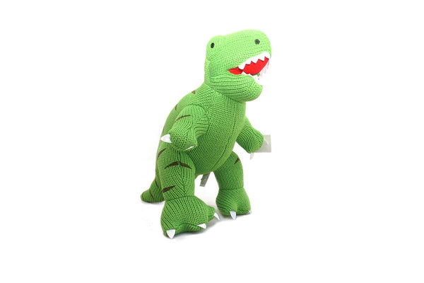 Knitted fair trade toy dinosaur t-rex