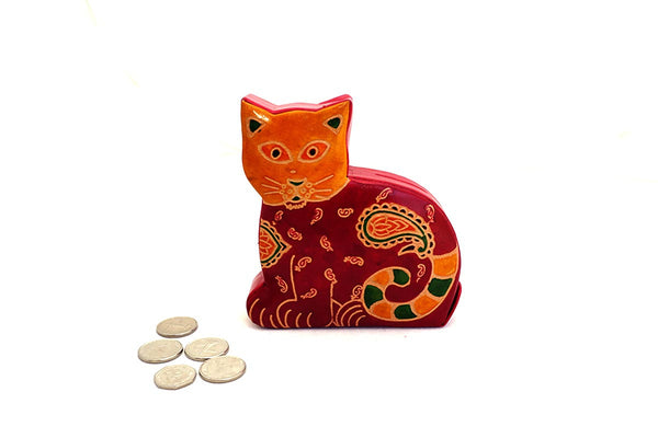 Red cat fair trade leather money box