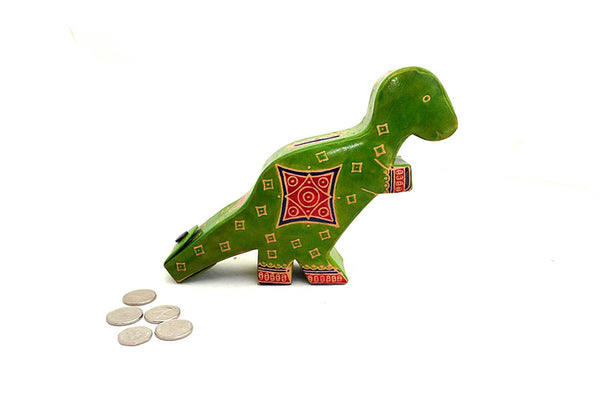 Dinosaur fair trade leather money box