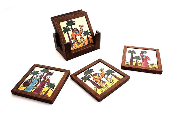 Fair Trade hand painted wooden and ceramic coaster set