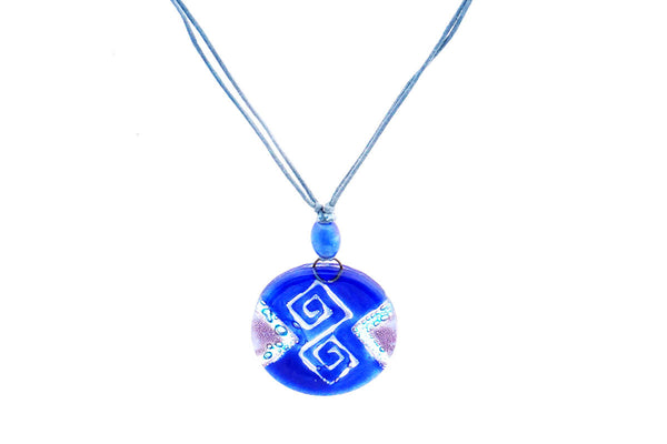 Blue Recycled Glass Pendant Necklace