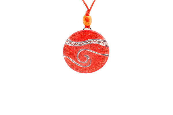 Red Recycled Glass Pendant Necklace