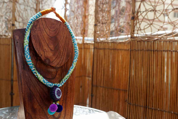 Cotton Bead Hmong Necklace Blue