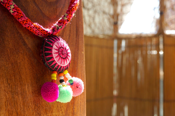 Cotton Bead Hmong Necklace Pink