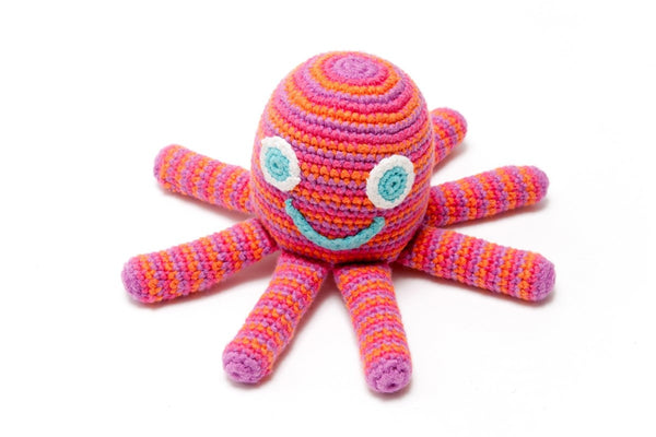 Crochet Octopus Rattle Pink