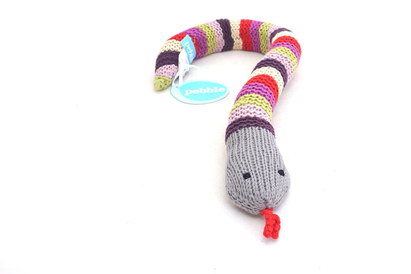 Knitted Snake Baby Rattle