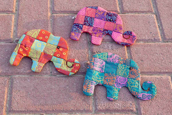 Fair Trade Naturally Printed Cotton Patchwork Elephant Purse