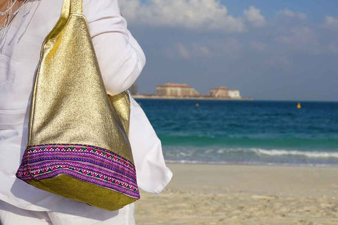 Gold Embroidered Tote Bag