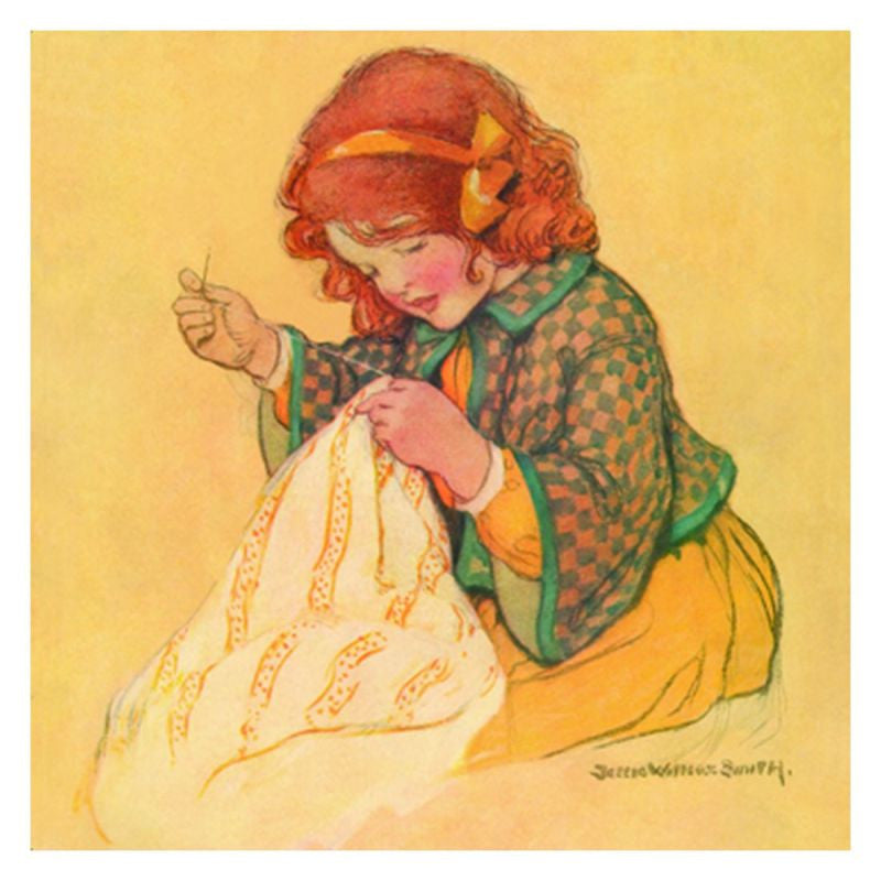 Jessie Willcox Smith Greeting Cards (Set of 6): Girl with Sewing