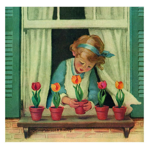 Stretched Canvas: Girl with Tulips