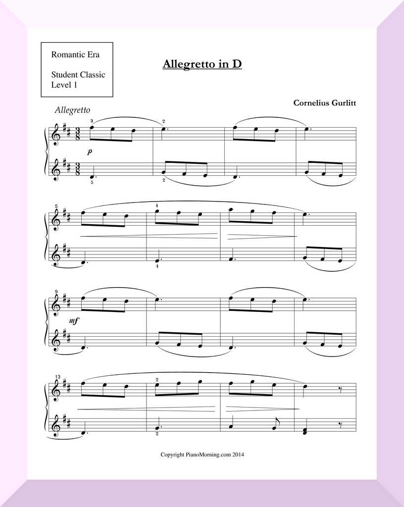 "Student Classic Level 1     ""Allegretto in D""  ( Gurlitt )"