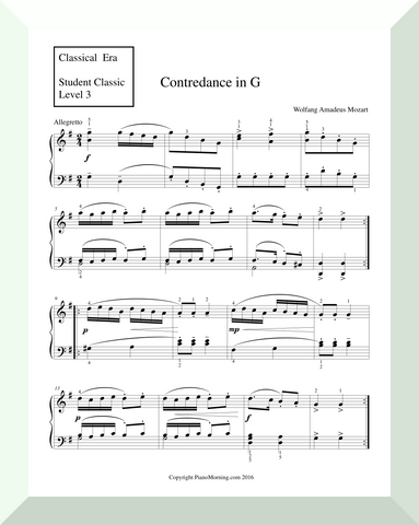 "Student Classic Level 3     "" Contredance in G""   ( Mozart)"