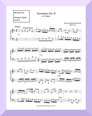 "Student Classic Level 6     "" Invention No. 8 ""   ( Bach )"