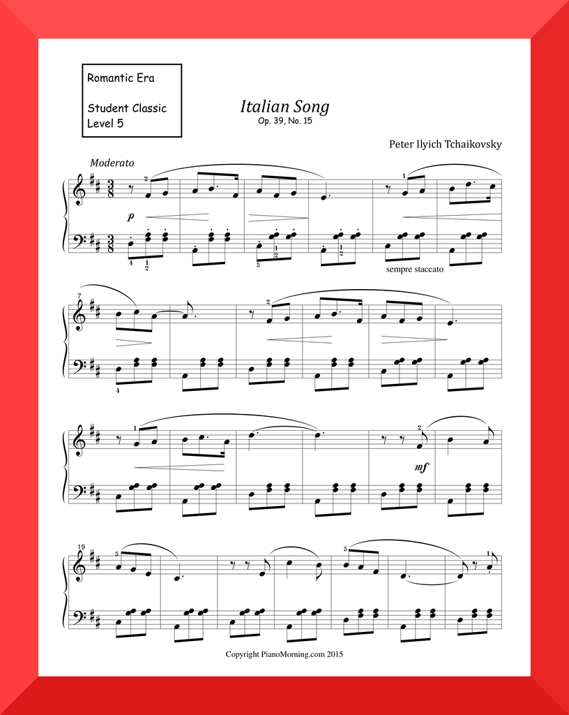 "Student Classic Level 5     "" Italian Song ""   ( Tchaikovsky )"