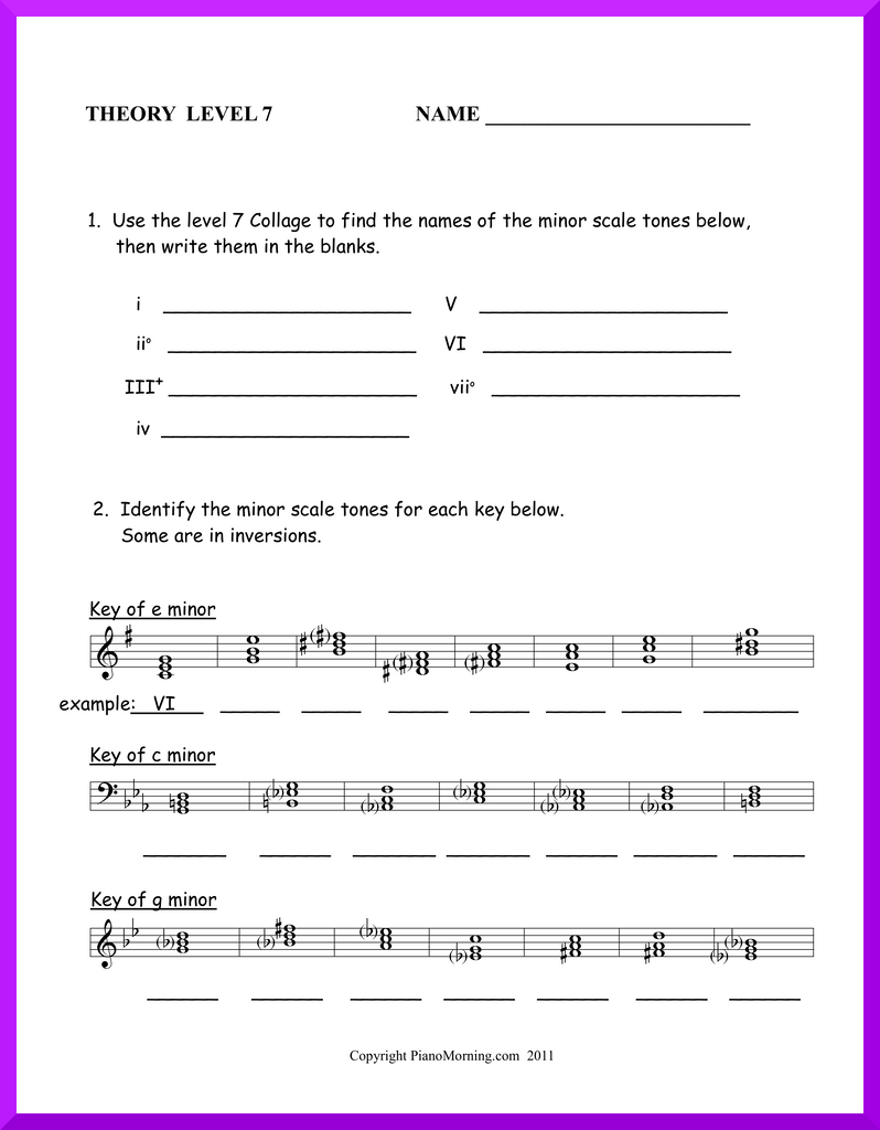 Level 7 Theory     Minor Scale Tones