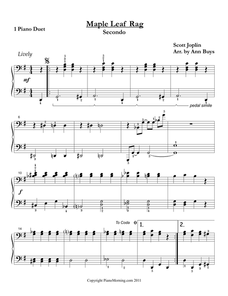 Maple Leaf Rag (Piano Duet)