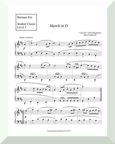 "Student Classic Level 3     ""March in D""   ( Anna Magdalena Bach Notebook )"