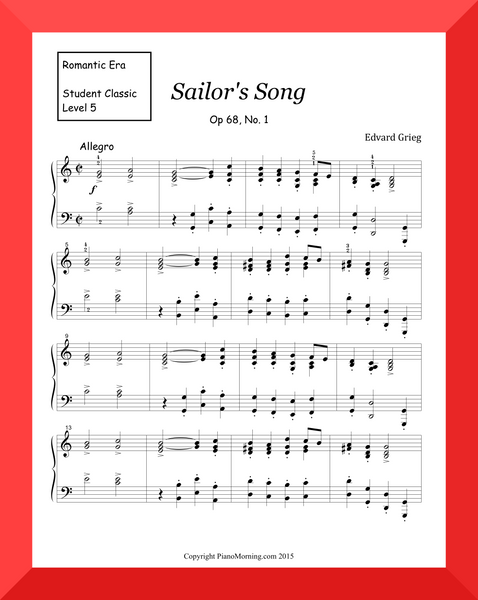 "Student Classic Level 5     "" Sailor's Song ""   ( Grieg)"