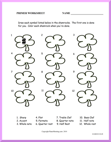 Theory-Primer     Shamrock Symbols Worksheet