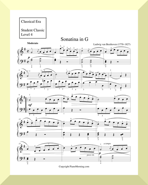 "Student Classic Level 4     ""Sonatina in G""   ( Beethoven )"