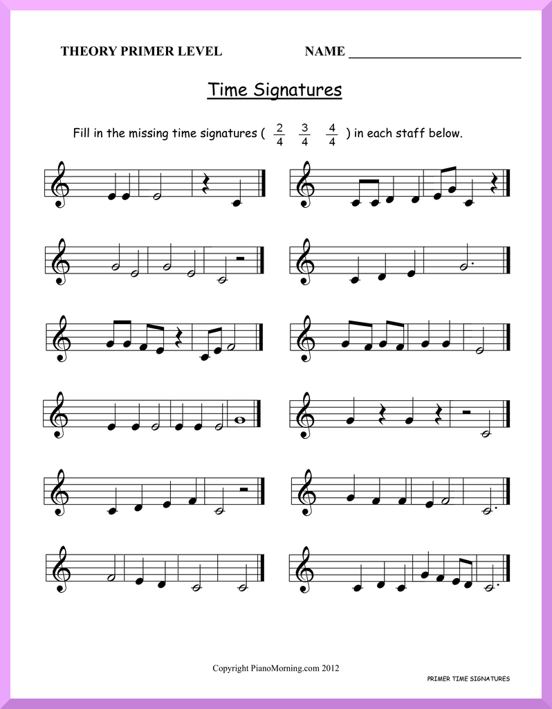 Theory-Primer     Time Signatures