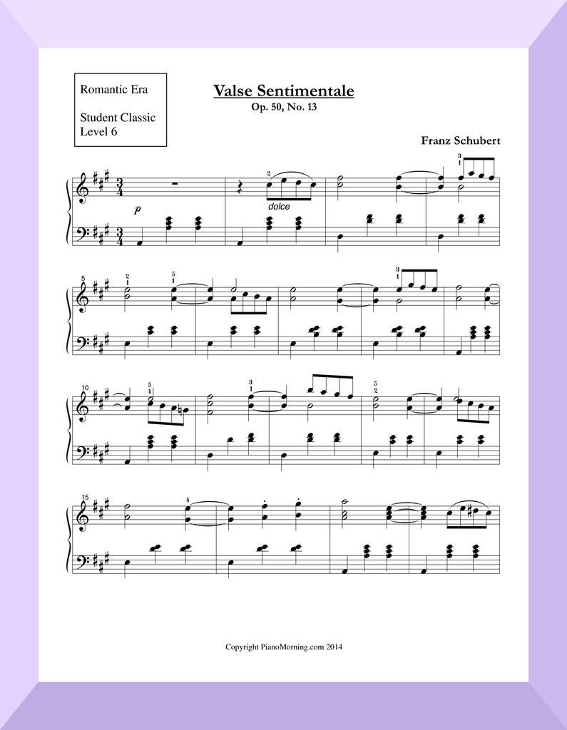 "Student Classic Level 6     "" Valse Sentimentale ""   ( Schubert )"