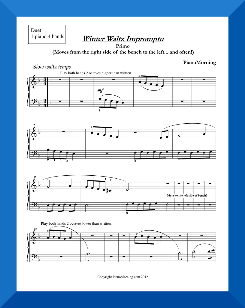 Winter Waltz Impromptu (Piano Duet)