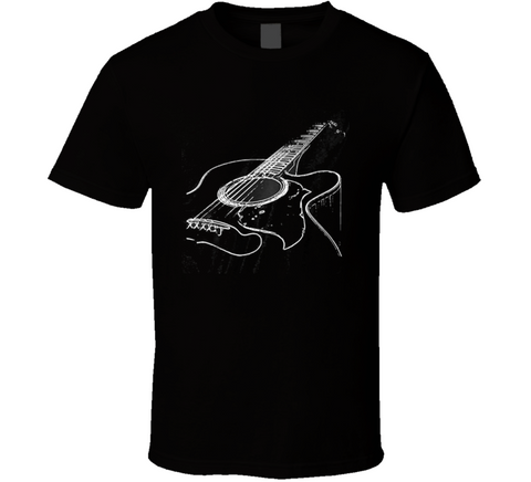 Black Acoustic Guitar T Shirt