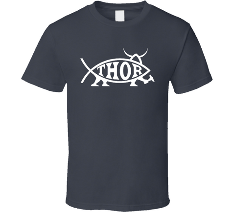 Thor Fish Funny Dark Grey T Shirt