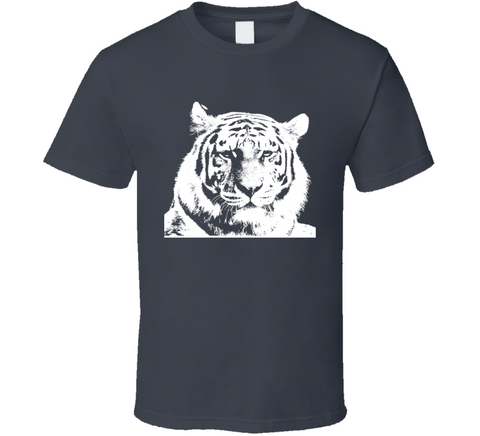 Big Kitty Tiger Stripes Cat Face T Shirt
