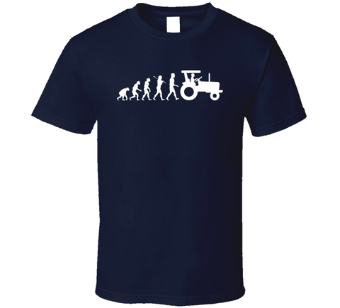 Farmer Evolution Tractor Funny Gift Navy Blue T Shirt