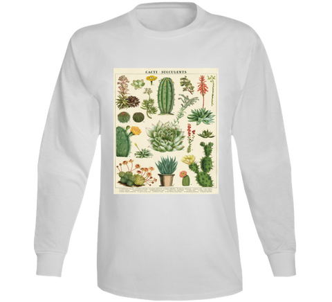 Vintage Succulent And Cacti Chart  Long Sleeve