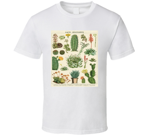Vintage Succulent And Cacti Chart  T Shirt