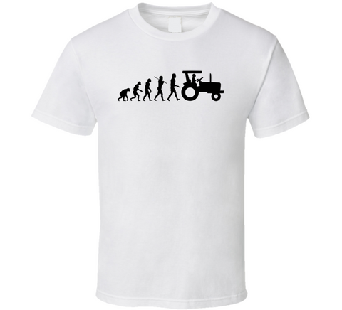 Farming Evolution Tractor Farmer Funny Gift White T Shirt