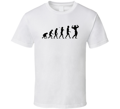 body builder strong man evolution guns out white t-shirt