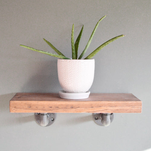 "Industrial Floating Shelf + ""L"" Pipe Brackets - Floating Shelves - Delirious by Design"