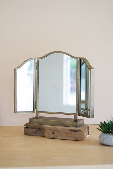 tri-fold metal tabletop mirror