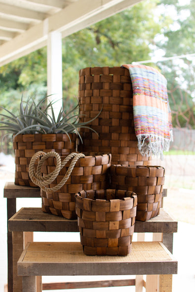 set of 5 nesting round chipwood baskets