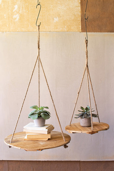 set of 2 round recycled wood display with jute rope