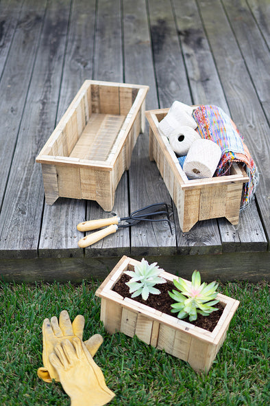 set of 3 rectangle recycled wood planters