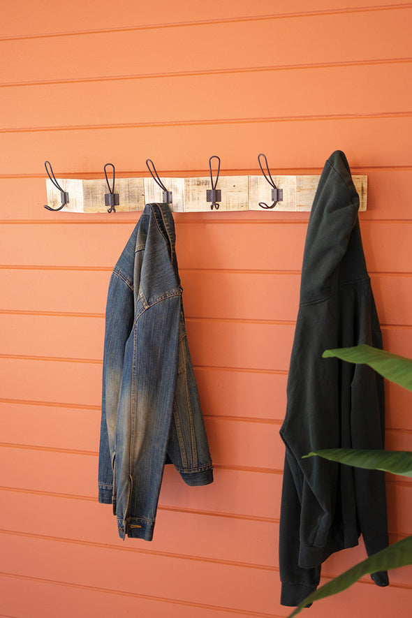 Zigzag Recycled Wood Coat Rack