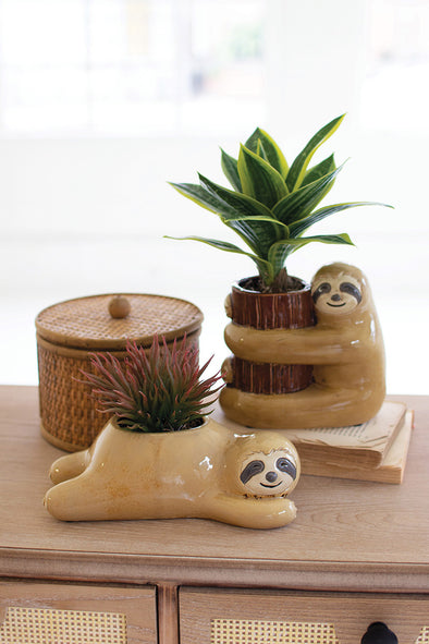 set of 2 ceramic sloth planters